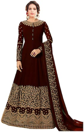 Mordenfab.Com  Women Poly Georgette Embroidered Maroon  Dress Material