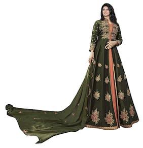 Mordenfab.Com Womens Green Satin Embroidered Semi Stitched Anarkali Salwar Kameez