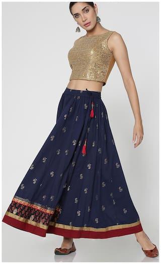 Morpankh Printed Straight skirt Maxi Skirt - Blue
