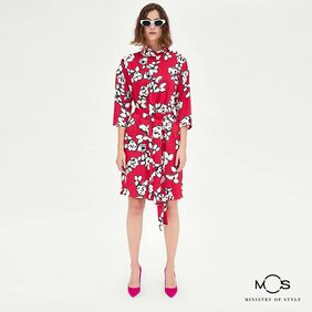 MOS Exclusive Women Printed Tie up Sheath Dress- Red