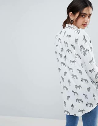 White MOS Women Exclusive Shirt Printed Casual nUp0HR