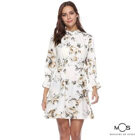 MOS Women Printed A-Line Dress- Blue