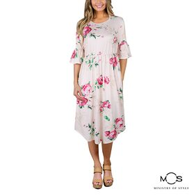 MOS Women Printed A-Line Dress- Pink