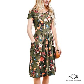 MOS Women Printed Fit And Flare Dress- Green