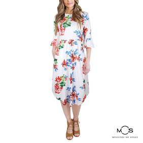MOS Women Printed A-Line Dress- White