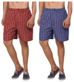 Men Cotton Checked Underwear ,Pack Of 2