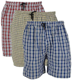 Men Cotton Checked Underwear ,Pack Of 3