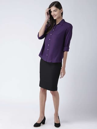 full collared women MsFQ shirt sleeve UPfqO8Yxw