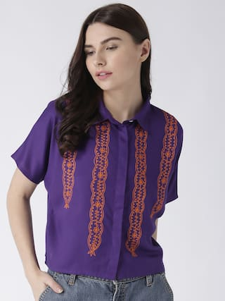 shirt MsFQ smart women's crop fit embroidery purple with qPOUXw