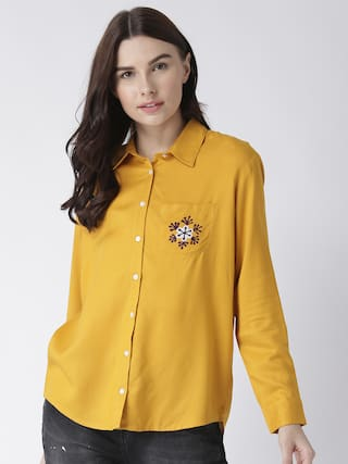 with embroidery shirt women's pocket MsFQ yellow wTnq1PWx0