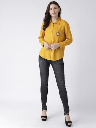 pocket MsFQ embroidery yellow shirt women's with wWFv07Rq