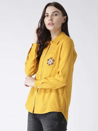 shirt women's with MsFQ yellow embroidery pocket 6qEwxnad0
