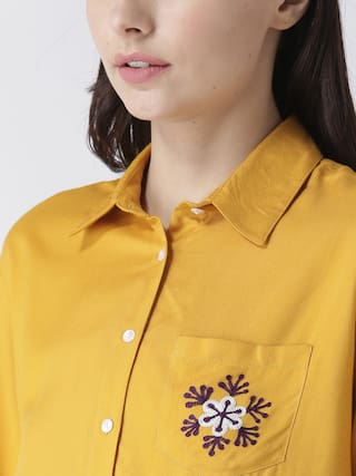embroidery MsFQ shirt yellow pocket women's with wRgF7q