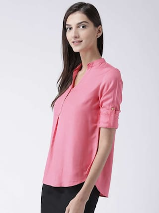 Semi pink sleeve shirt roll Pink formal with Women's MsFQ pEqzw4E