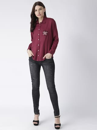 embroidery maroon MsFQ pocket with women's shirt A7PZ8z