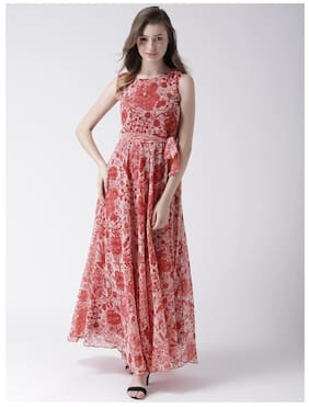 c832cf5426 MsFQ women s Flared printed maxi dress with waist tie up