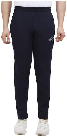 MSZO Men Blue Solid Slim fit Track pants