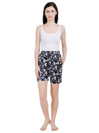 MSZO Women Printed Regular shorts - Black