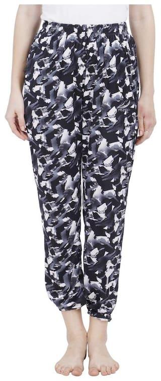 Mszo Women Silk Printed Regular Trousers Black