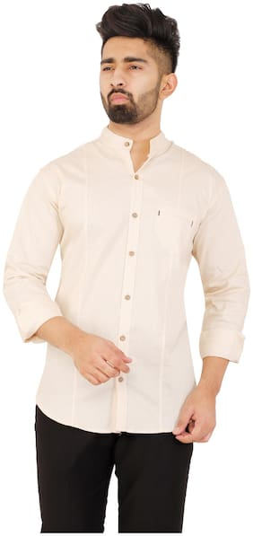 Muditcrafts Men Slim Fit Casual shirt - Beige