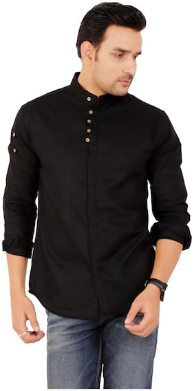 Muditcrafts Men Slim Fit Casual shirt - Black