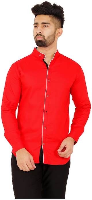 Muditcrafts Men Slim Fit Casual shirt - Red