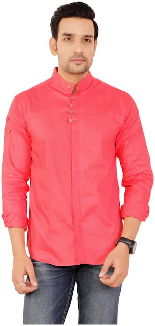 Muditcrafts Men Slim Fit Casual shirt - Pink