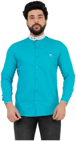 Muditcrafts Men Slim Fit Casual shirt - Turquoise