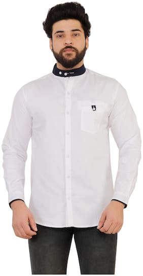 Muditcrafts Men Slim Fit Casual shirt - White
