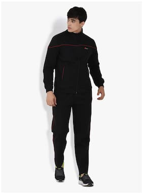 muffy Men Black Solid Slim Fit Track Suit