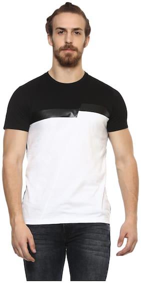 Mufti Men Slim fit Round neck Solid T-Shirt - White