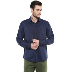 Mufti Mens Navy Slim Fit Mid Rise Casual Shirts