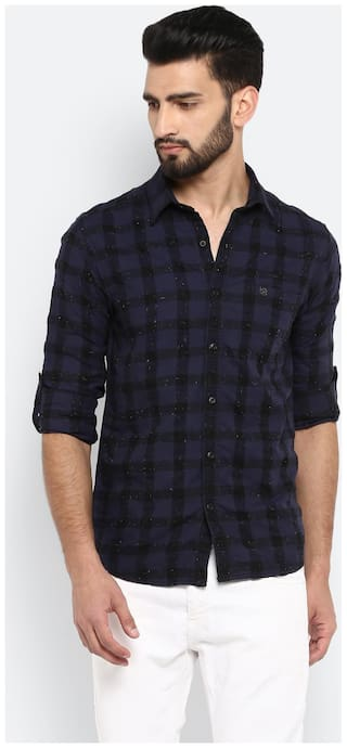 Mufti Men Blue Checked Slim Fit Casual Shirt
