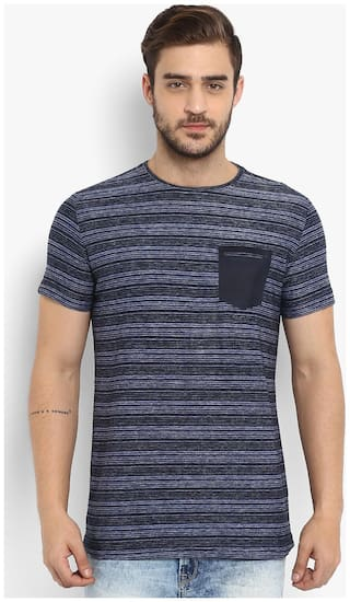 Mufti Men Blue Slim fit Cotton Round neck T-Shirt - Pack Of 1