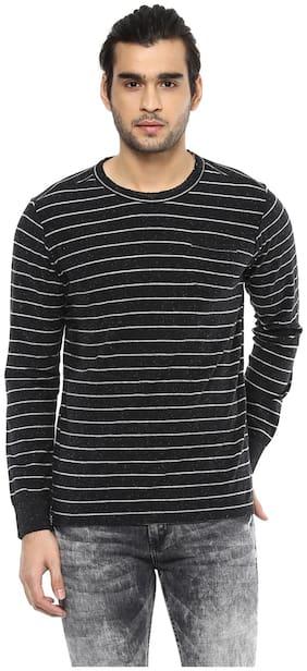 Men Henley Neck Striped T-Shirt