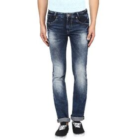 Mufti Mens Dark Blue Low Rise Straight Fit Jeans