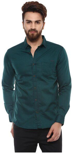 Mufti Mens Green Slim Fit Casual Shirts