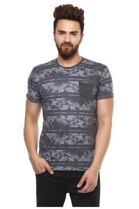 Mufti Men's Slim Fit Printed T-Shirt - Grey