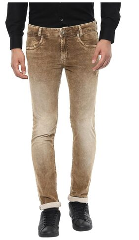 Mufti Men's Low Rise Slim Fit Jeans - Beige