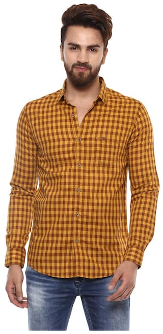 bcd7626424 Buy Mufti Men Slim fit Casual shirt - Brown Online at Low Prices in ...