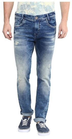 Mufti Mens Mid Blue Low Rise Skinny Fit Jeans