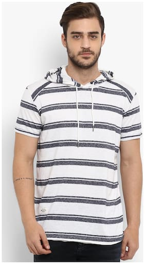 Men Hood Striped T-Shirt Pack Of 1