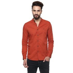 Mufti Mens Rust Mid Rise Slim Fit Casual Shirts