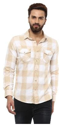 Mufti Men White Colorblocked Slim Fit Casual Shirt