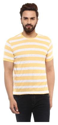 Men Round Neck Striped T-Shirt