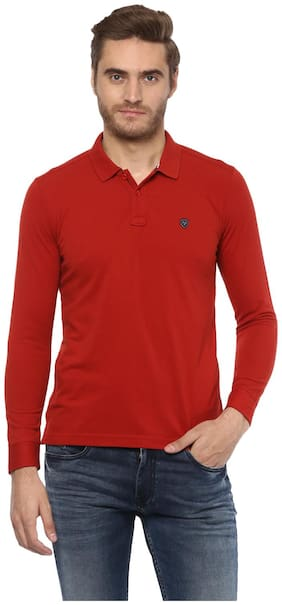Men Polo Collar Solid T-Shirt