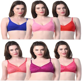 In Beauty Set of 6 Non Padded Cotton Demi Cup Bra - Multi