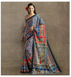 Multi Colour Crepe Madhubani Style Digitally Printed Saree with Blouse Piece