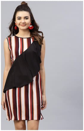 AASI- HOUSE OF NAYO Crepe Striped Fit & Flare Dress Multi
