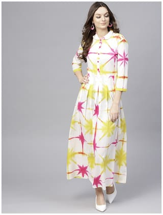 AASI- HOUSE OF NAYO White Dyed Maxi dress